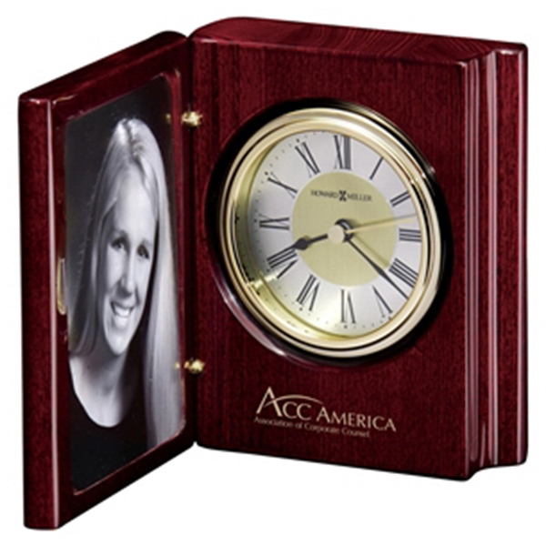 "Portrait Book - High-gloss Rosewood ""book"" Clock With A Frame To Hold A Photo Photo"