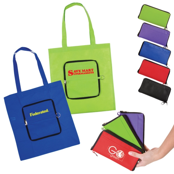 Zippin' - Foldable Tote Zips Into A Slip Pouch, Includes Metal Split Ring Photo