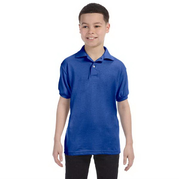 Hanes (r) Ecosmart (r) - Colors - Youth 5.5 Oz., Jersey Knit Polo Shirt Photo