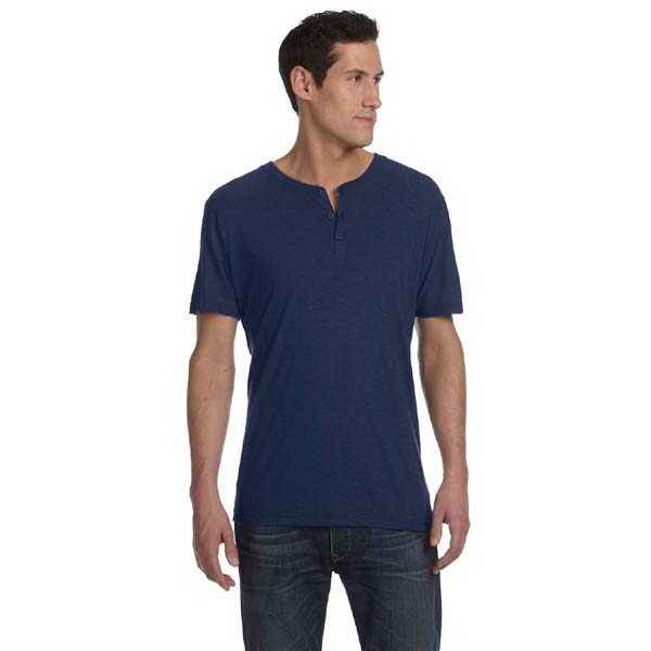 Bella + Canvas (tm) Los Angeles The Triblend Collection - S- X L - Men's Short Sleeve Henley Shirt With Three Button Placket Photo