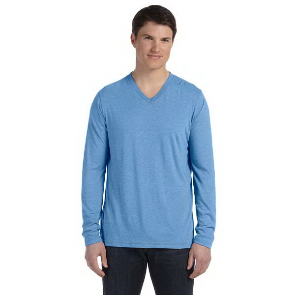 Bella + Canvas (tm) Los Angeles The Triblend Collection - S- X L - Men's Long Sleeve Conservative V-neck T-shirt Photo