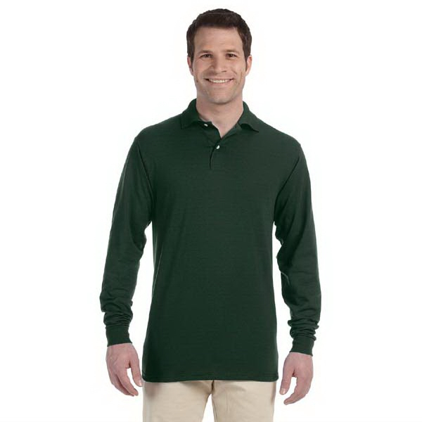 Jerzees (r) - Neutrals S- X L - Long-sleeve Colored Knit Polo Shirt With Stain Resistance Photo