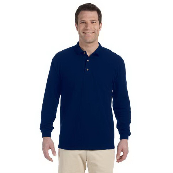 Gildan (r) - Heathers S- X L - Preshrunk 6.5 Oz. Cotton Pique Long-sleeve Polo Shirt With 3 Button Placket Photo