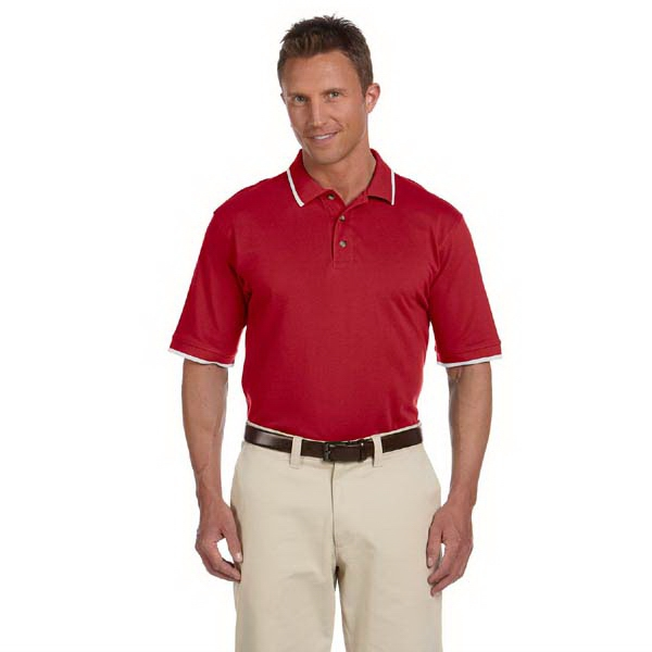 Harriton - 2 X L - Short Sleeve Pique Polo Shirt With Tipping, 6 Oz Photo