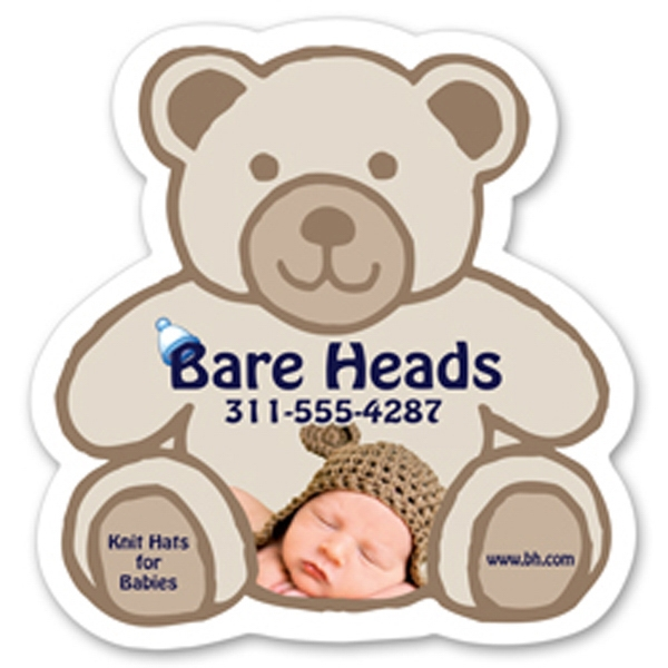 "Jumbo Teddy Bear Shaped Magnet, 4 1/8"" X 4 1/4"" Photo"