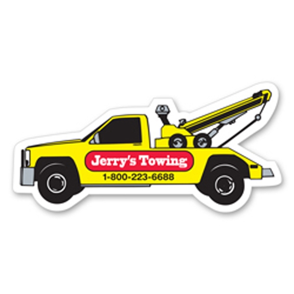 Flat Flexible Transportation Themed Stock Tow Truck Shaped Magnet Photo