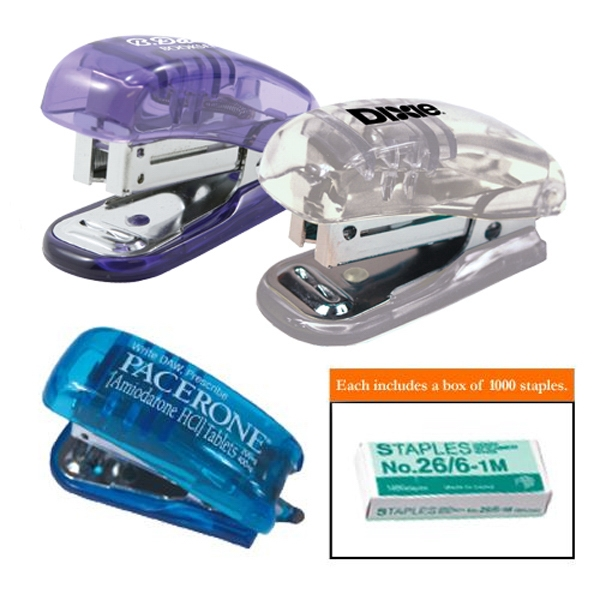 Miniature Translucent Stapler With Built In Staple Remover And Box Of 1000 Staples Photo