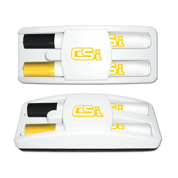 Dry Erase Gear Marker & Eraser Set (Black & Yellow)