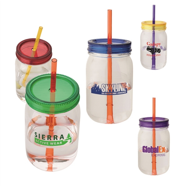28 Oz. Mason Jar Tumbler With Mix & Match Colored Lids And Straws Photo