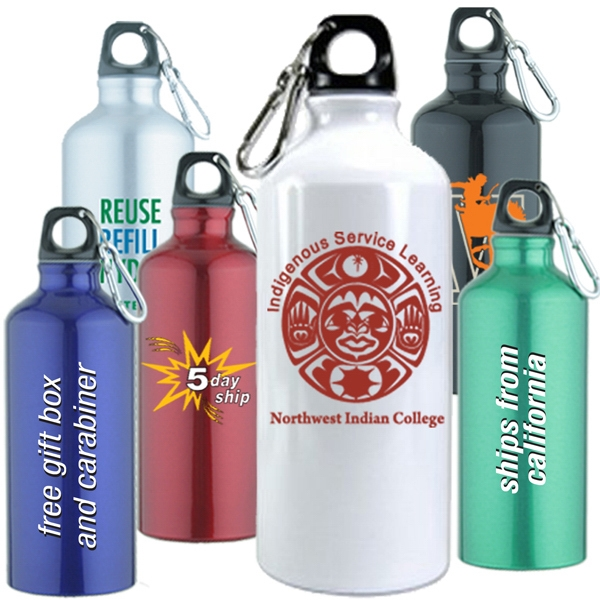 20 Ounce Single Wall Aluminum Water Bottle With Screw On Cap Photo