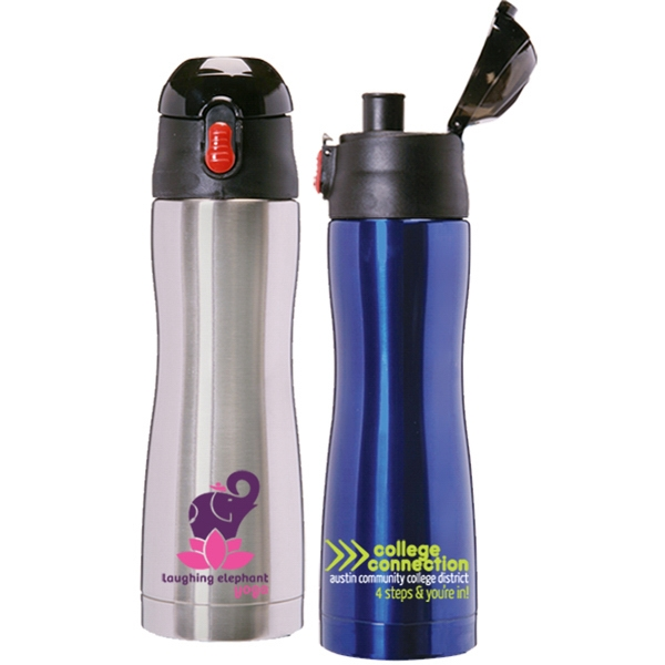 16 Ounce Double Wall Stainless Steel Easy Grip Curved Water Bottle Photo