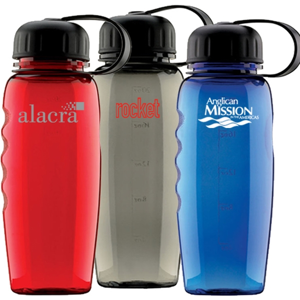 Bpa Free, 20 Oz. Polycarbonate Sport Water Bottle With Screw On, Leashed Lid Photo