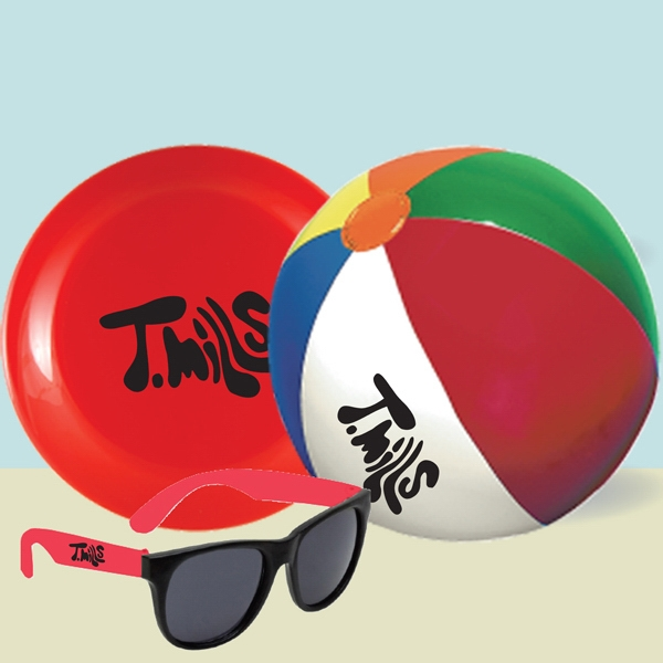 "9"" Beach Ball, 9"" Flying Disc & Sunglasses In Mesh Bag Photo"