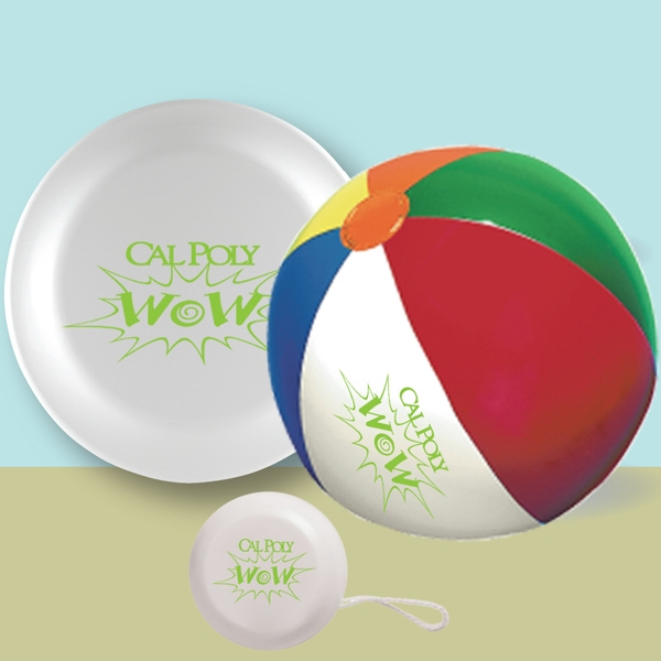 "9"" Beach Ball, 9"" Flying Disc & Yoyo In A Mesh Bag Photo"