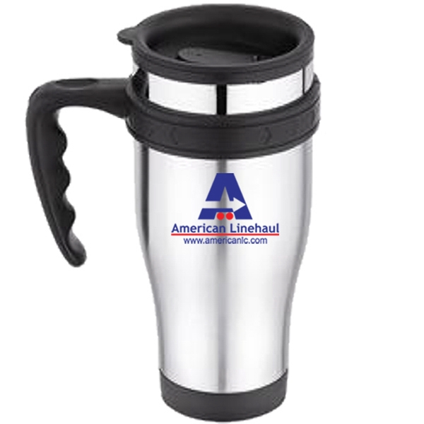 Stainless Outer, Plastic Inner 16 Oz. Travel Mug - Thumb Slide Lid And Sturdy Handle Photo