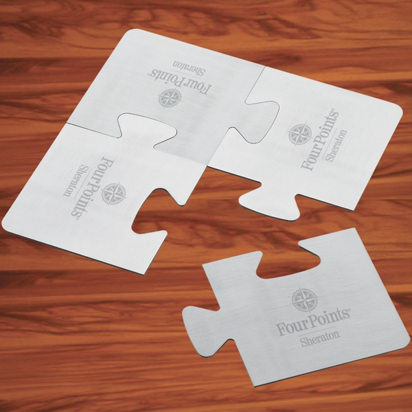 Puzzle Coaster Set - 4 Brushed Aluminum, Foam Backed Puzzle Coasters Photo