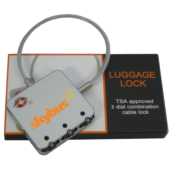 Executive Series - Luggage Lock - Tsa Approved, 3 Dial Combination, Cable Travel Lock Photo