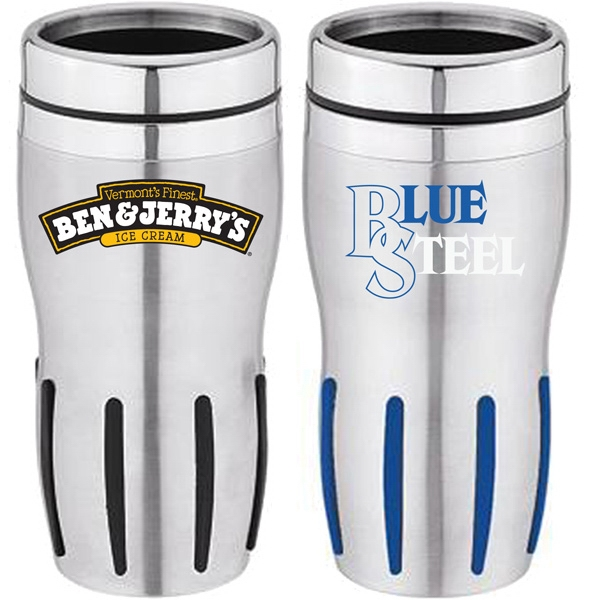 Stainless Steel 16 Oz. Travel Tumbler With Colored Rubber Grip And Thumb Slide Lid Photo