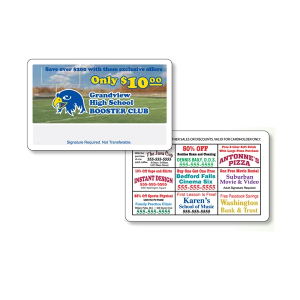 "Two Sides - 2 1/8"" X 3 3/8"" Gloss White Plastic Membership Card With 4-color Process Print Photo"