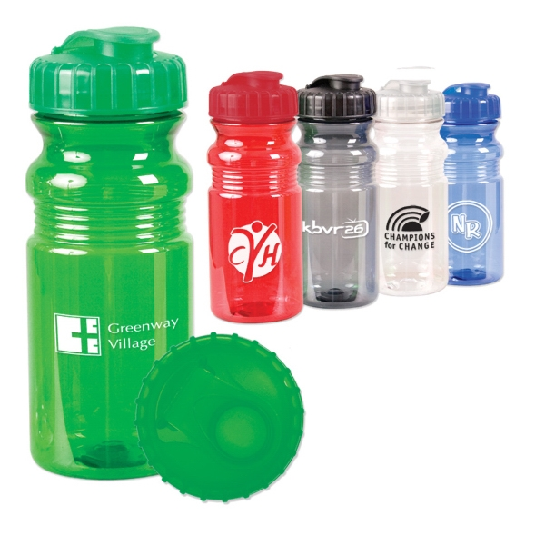 Reusable Translucent Colored Plastic Fitness Bottle, 20 Oz Photo
