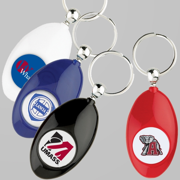 Smooth Plastic Classic Oval Shape Key Chain With Full Color Epoxy Domed Logo Photo