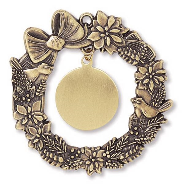 Charm Collection - Printed - Stock Wreath Ornament With Brass Charm And Matching Cord Photo