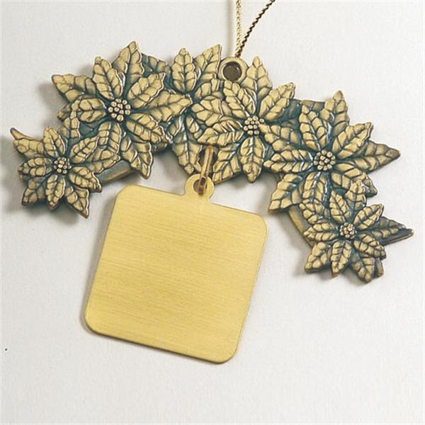 Charm Collection - Printed - Stock Poinsettia Ornament With Brass Charm And Matching Cord Photo