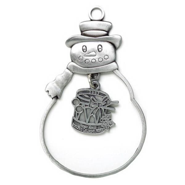 Charm Collection - Die Cast - Stock Frosty Ornament With Brass Charm And Matching Cord Photo
