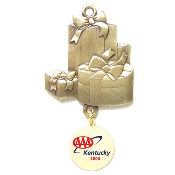 Charm Collection - Die Cast - Stock Gift Boxes Ornament With Brass Charm And Matching Cord Photo