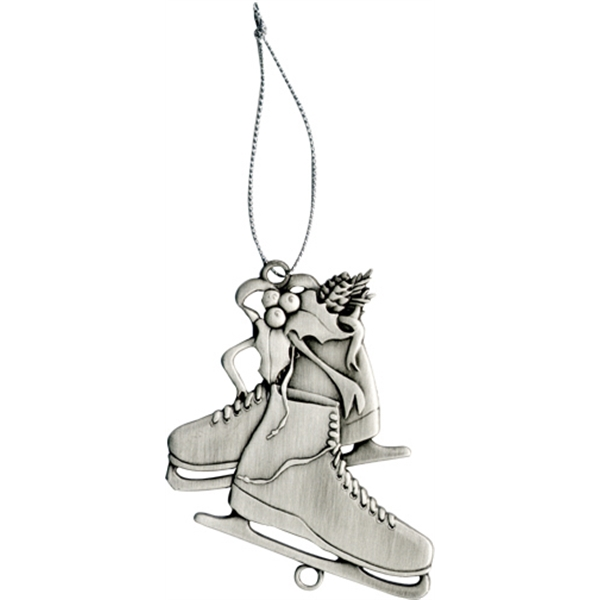 Charm Collection - Die Cast - Stock Skates Ornament With Brass Charm And Matching Cord Photo