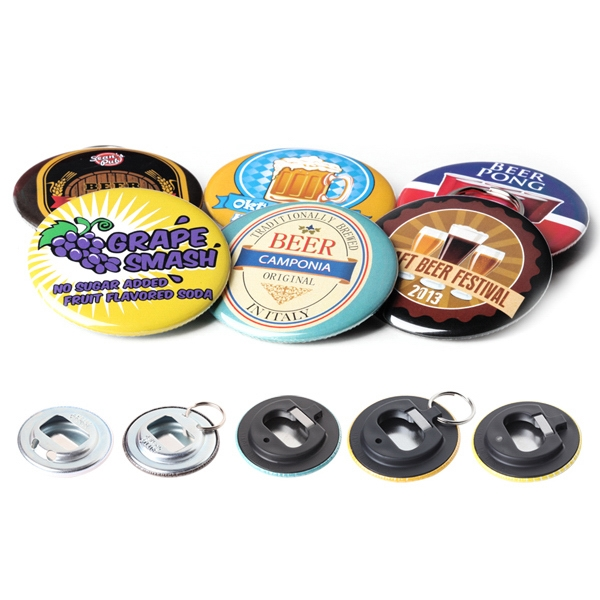 Metal Backing With Split Ring - Round Button Bottle Opener With Mylar Coating Photo