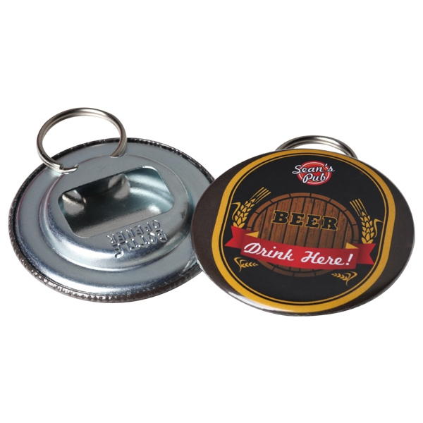 "2.25"" Round Button Bottle Opener With Metal Backing And Split Ring Photo"