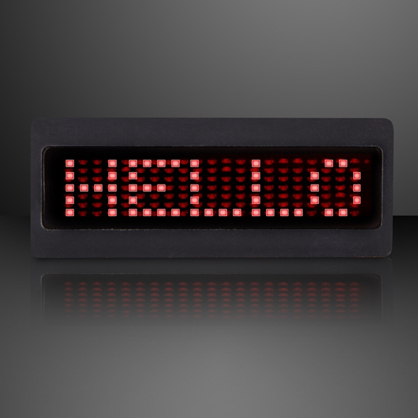Red mini scrolling text LED badge