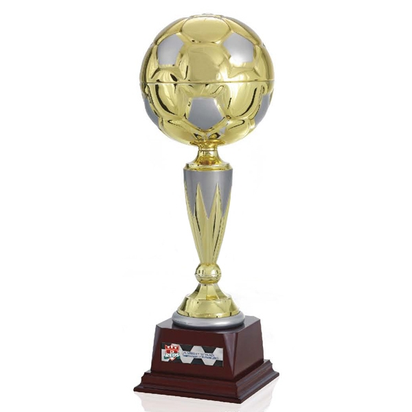 "Top Score Jaffa (r) Collection - 15"" Gold Metal Soccer Ball Trophy Photo"