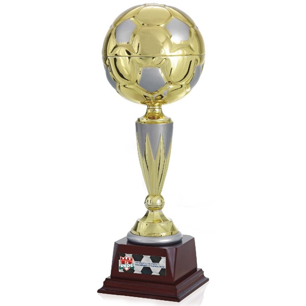 "Top Score Jaffa (r) Collection - 17"" Gold Metal Soccer Ball Trophy Photo"