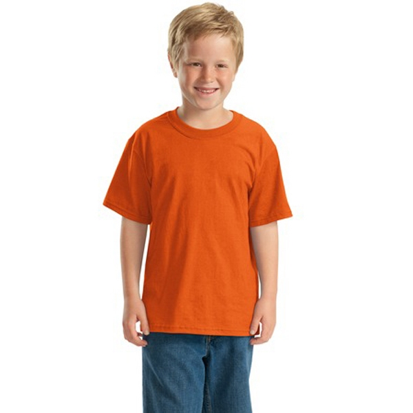 Jerzees (r) - White - Youth Sized Polyester/cotton T-shirt Seamless Body And Set In Sleeves Photo