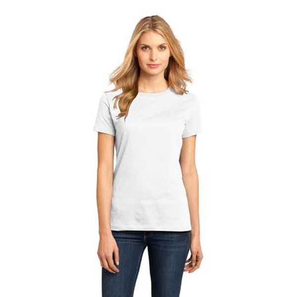 District Made (tm) -  X S- X L White - Ladies Short Sleeve Rib Knit Crew Neck T-shirt Photo
