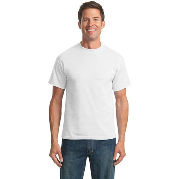 Port & Company (r) - 3 X L White - Polyester/cotton T-shirt With Double Needle Hem Photo
