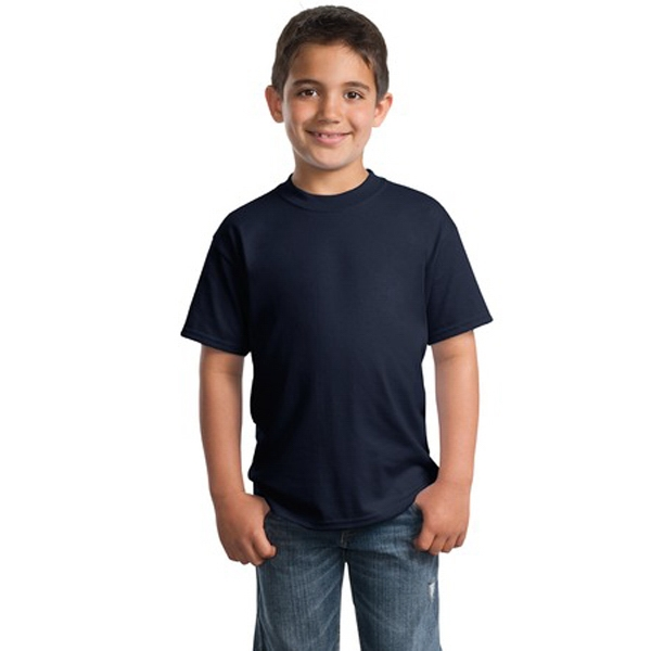 Port & Company (r) - Darks - Polyester/cotton Youth Tag Free T-shirt With Double-needle Sleeve And Hem Photo