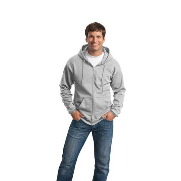 Port & Company (r) - S -  X L White - Classic Full-zip Hooded Sweatshirt, Two-ply Hood, Dyed-to-match Drawcord Photo