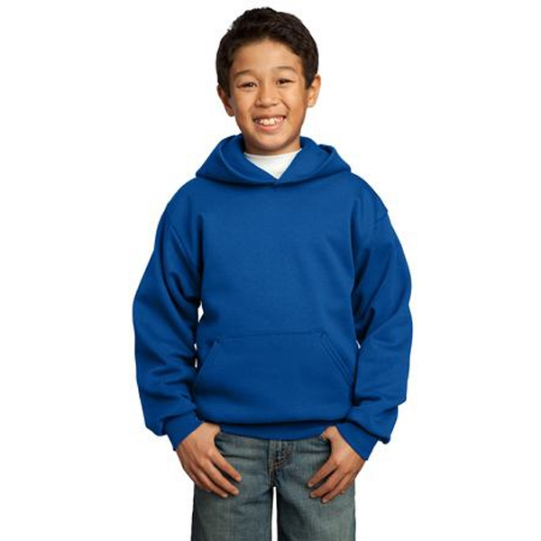 Port & Company (r) - White - Cotton/polyester Fleece Youth Pullover Hooded Sweat Shirt With Pouch Pocket Photo