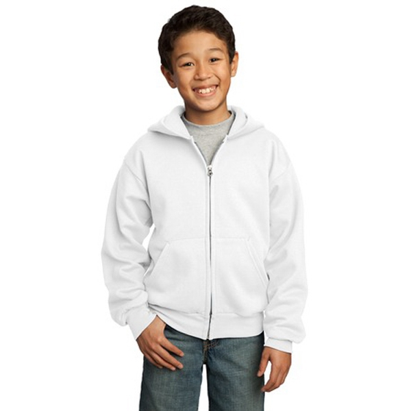 Port & Company (r) -  X S -  X L White - Youth Full Zip Hooded Sweat Shirt Photo