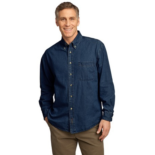 Port & Company (r) -  X S -  X L Denim - Garment Washed 6.5 Oz. Cotton Value Denim Shirt With Long Sleeves Photo