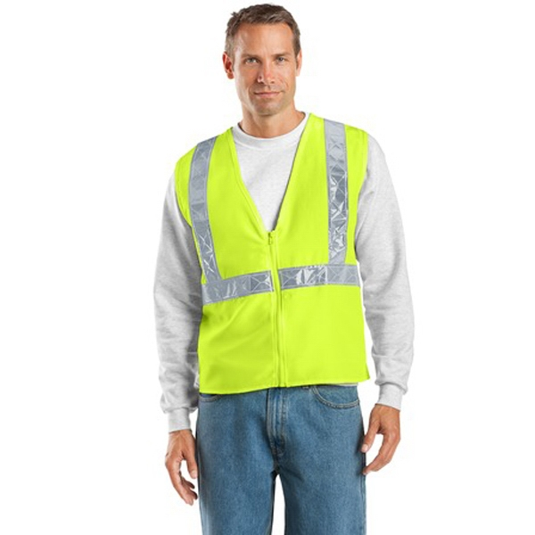 Port Authority (r) - 2 X L/3 X L Colors - Polyester Safety Vest With Vertical And Horizontal Reflective Taping Photo