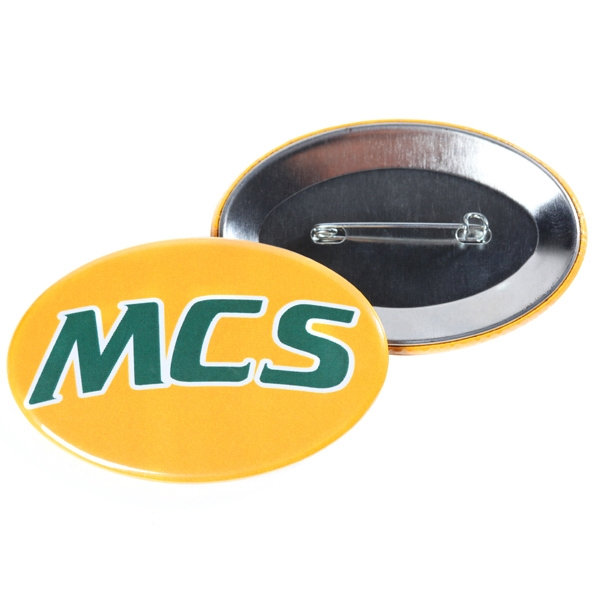 "1.75"" x 2.75"" Oval Button with Pin Backing and Mylar Coating"