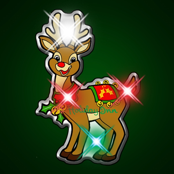 Licensed Rudolph the red-nosed reindeer flashing pin
