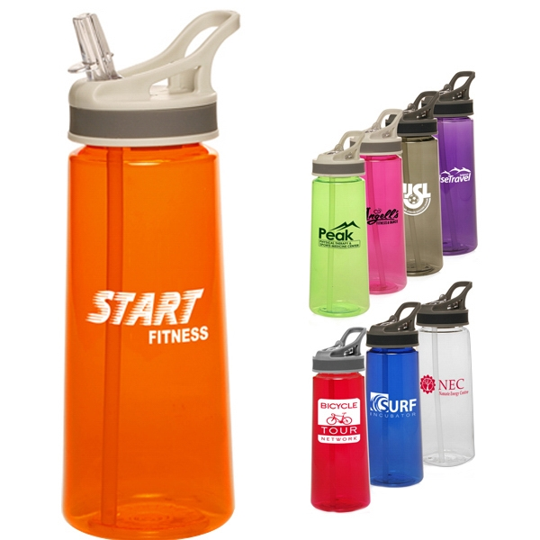 22 Oz. Plastic Sports Bottles With Straw