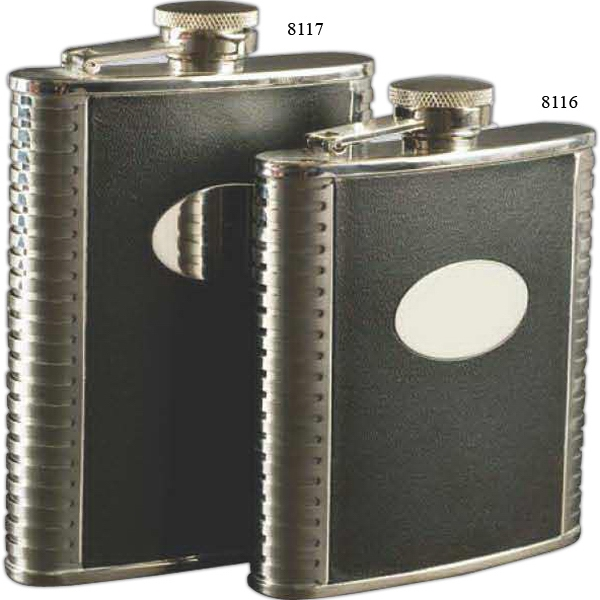 Deluxe Leather-Bound Captive-Top Pocket Flask