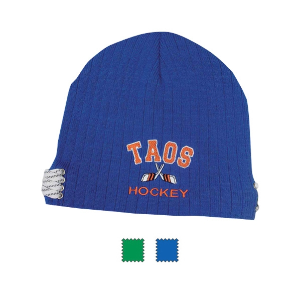 Sport Knit Cap; 100% Acrylic With Metal Eyelets And Sport Laces On Sides. Closeout Photo