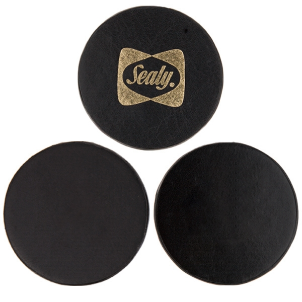 Atlantis - Black - Round Cowhide Leather Coaster Set. Price Including Deboss/screen Each 4 Coasters Photo